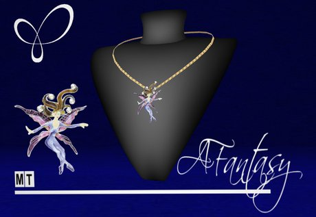 AFantasy Detailed Gold Dancing Fairy Necklace