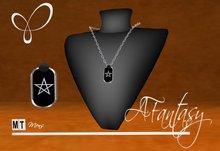 AFantasy Mens Pentagram Dogtag Necklace