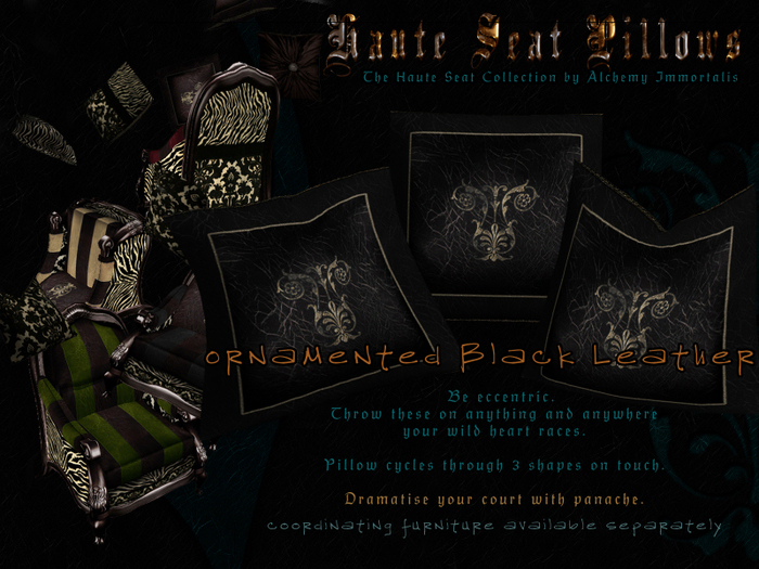Haute Seat Pillow - Ornamented Black Leather