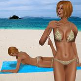 Gold tone bikini with beads