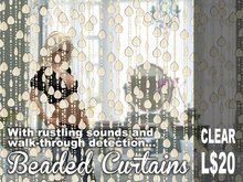Scripted Clear Beaded Curtains