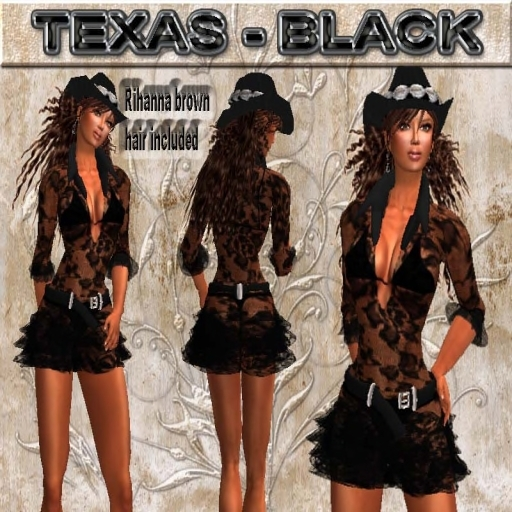 """EdelStore women outfit """" Texas """" black dress incl. hat & hair western dress cowgirl western hat woman showgirl party"""