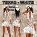 """EdelStore women outfit  """" Texas """" white dress + hat & hair western dress western outfit Tiny Goth Furry cowgirl sexy"""