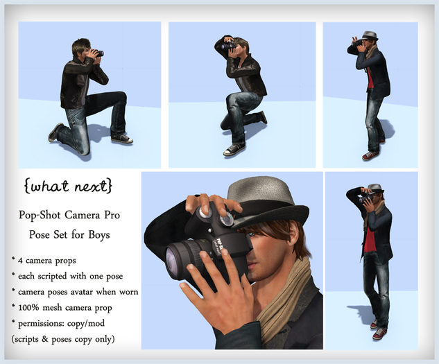 {what next} Pop-Shot Pro Camera Props & Poses for Boys