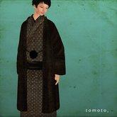 tomoto, haori shibori black