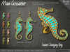 Rings and Earrings - Gold Inlaid Seahorse