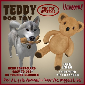 Teddy Pet Toy By Vavoom! Boxed - Toys and Accessories for Virtual Kennel Club (VKC®) Pets - No Training Required