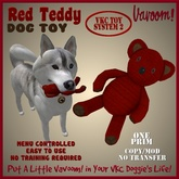 Red Teddy Pet Toy By Vavoom! Boxed - Toys and Accessories for Virtual Kennel Club (VKC) Pets - No Training Required