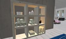 Shelving with Towels, candles and accessories