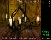 Chandelier with White candles mesh, Gothic furniture