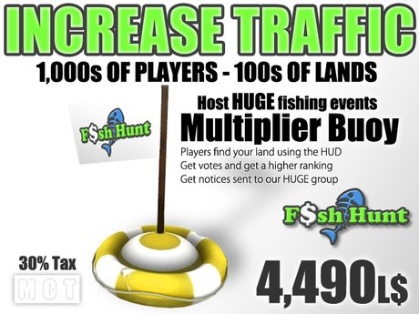 Linden Fish Hunter Multiplier Buoy Pack (30% Tax) - Boost your Traffic - Increase Sales - Free Visitors