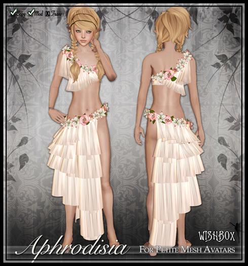 [Wishbox] Aphrodisia (Petites) - Cream Flower Goddess Silks with Lilies and Roses for Petite Mesh Avatars