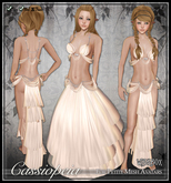 [Wishbox] Cassiopeia (Petites) - Cream Medieval Fantasy Moon Priestess Silks for Petite Mesh Avatars