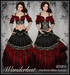 [Wishbox] Wanderlust (Petites) - Red & Black Gypsy Dress Costume for Petite Mesh Avatars - Medieval Fantasy