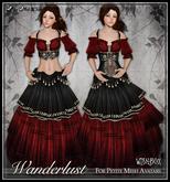 [Wishbox] Wanderlust (Petites) - Red & Black Gypsy Dress Costume for Petite Mesh Avatars - Medieval Fantasy