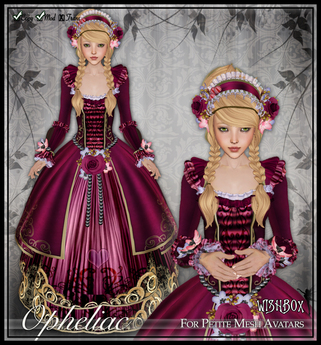 [Wishbox] Opheliac (Petites) - Rococco Marie Antoinette Gown Babydoll EGL Dress for Petite Mesh Avatars