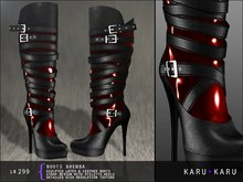 KARU KARU - Latex And Leather Boots Brenda (RUBY)