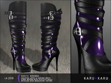 KARU KARU - Latex And Leather Boots Brenda (PURPLE)