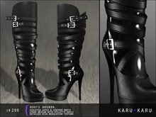 KARU KARU - Latex And Leather Boots Brenda (BLACK)
