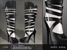 KARU KARU - Latex And Leather Boots Brenda (WHITE)