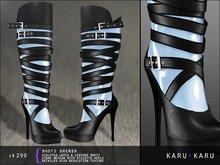 KARU KARU - Latex And Leather Boots Brenda (POWDER BLUE)