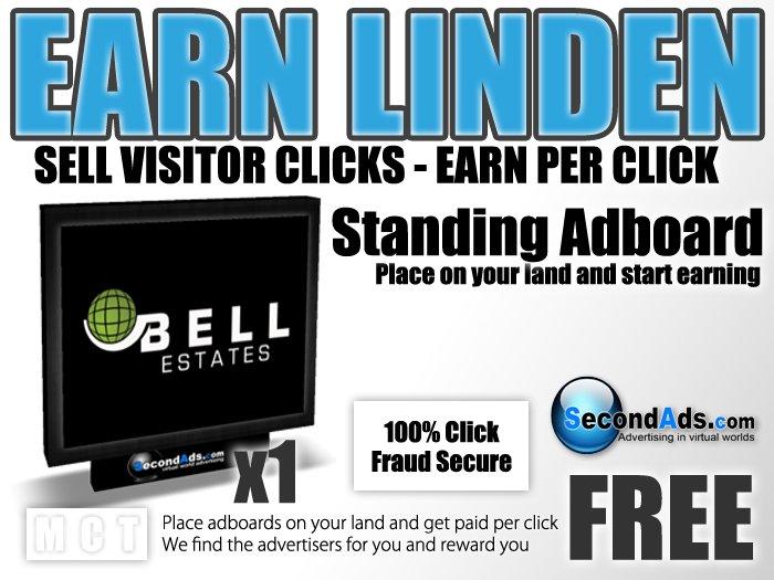 SecondAds Standing Adboard - Earn Linden Selling Advert Clicks
