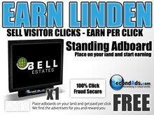 SecondAds Standing Adboard - Earn Linden Selling Advert Clicks