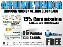 15% Commission - SecondAds Affiliate Pack - Earn Linden Selling SecondAds Products