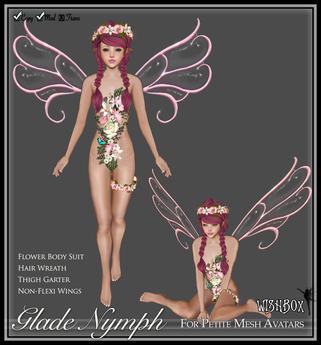 [Wishbox] Glade Nymph (Petites) - Pink Flower Fairy Fae w/ Wings, Hair Wreath Crown & Garter for Petite Mesh Avatars