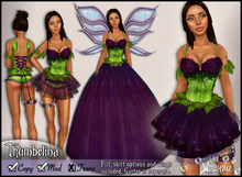 [Wishbox] Thumbelina Flower Gown (Purple) - Fantasy Fae Costume Dress and Lingerie, Fairy with Wings
