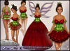 [Wishbox] Thumbelina Flower Gown (Strawberry Red) - Fantasy Costume Fairy Tale Dress Fae with Wings