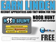 Noob Hunt - Master HUD - Earn Linden by recruiting apprentices