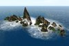 Realistic 50m wide offsim rocks barrier with waves 14prims