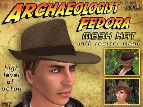 Archaeologist Brown Fedora Hat - Mesh