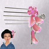 kanzashi falling petals silver/pink