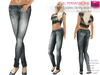 FULL PERM CLASSIC RIGGED MESH Women's Female Ladies Skinny Low Waist Washed Denim Jeans Pants