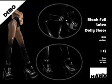 !Black Full Latex Dolly Shoes Set DEMO