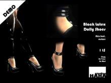 !Black Latex Dolly Shoes Set DEMO
