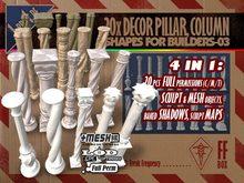 [FFBox] 20x Decor Pillar, Column Set-03 {MESH+Sculpt+Maps+Shadows, CMT} for Builders