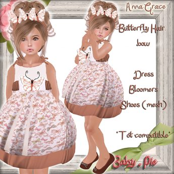 *Baby Pie* Anna Grace ~Almost Free~ Complete Outfit!  Fit's Children & Tiny Tot's!  Adorable Summer Butterfly Dress Set!