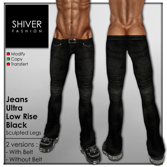 Shiver - Jeans Black Ultra Low Rise with & Without Belt (2 versions)