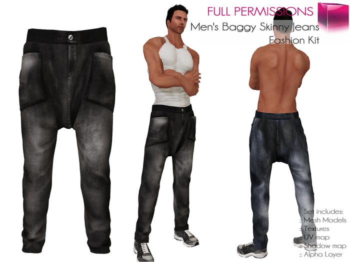 RIGGED MESH Men's Male Casual Baggy Loose Jeans Denim Drop-Crotch Hip Hop Rap Harem Pants - 2 TEXTURES