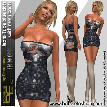 Babele Fashion Jeans Tube Blue Dots