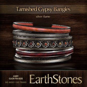 EarthStones Tarnished Gypsy Bangles - Silver/Flame