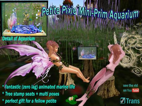 Petite Aquarium with petite tree stumps + varied poses for the petite avatar