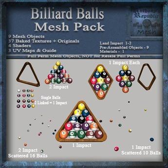 Billiard Table Rack & Balls Mesh Pack, Pool Table Accessories, Full Perm Mesh & Textures