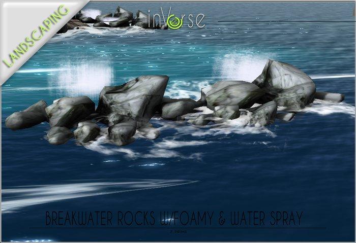 Breakwater sea rocks w/foamy water spray TRANSFER version