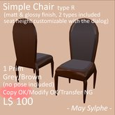 - May Sylphe - Simple Chair R Grey/Brown glossy