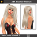 A&A Misa Hair Platinum (Color 10), long straight flexi hairstyle with colorable pigtail bands.