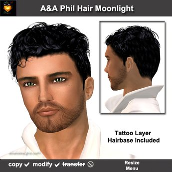 A&A Phil Hair Moonlight. Short curly men's hairstyle with matching tatoo layer hairbase. Special color!